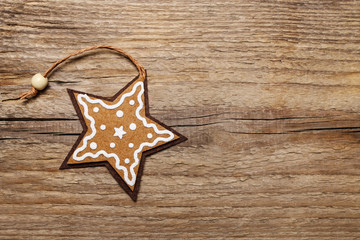 Star on wooden background.