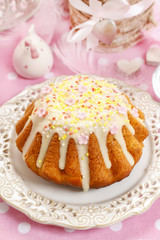 Traditional easter cake decorated with icing and colorful sprink