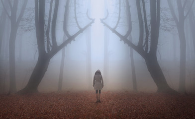 Woman in fairytale foggy forest during autumn