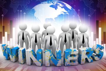 Standing behind the word Winners