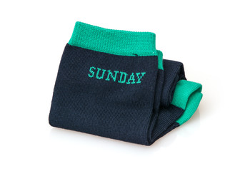 Isolated trendy wool socks with inscription SUNDAY