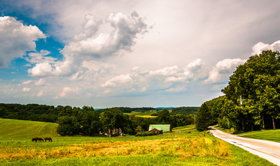 Country road and farm fields in Southern York County, Pennsylvan