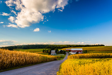 Country road and view of a farm in rural York County, Pennsylvan