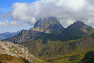 Midi d´ossau peak in pyrenees national park.