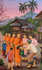 Thai mural painting of the offering food to Buddhist monks at Wa