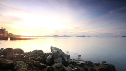 Sea beach bay and Sun rise or sunset (reverse),