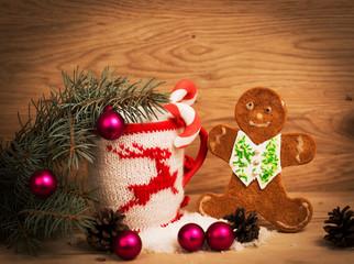 Christmas mug with Christmas decorations