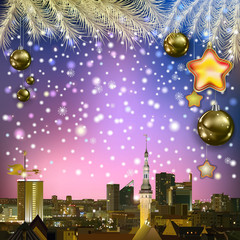 abstract greeting with Christmas decorations and cityscape