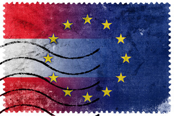 Austria and European Union Flag - old postage stamp