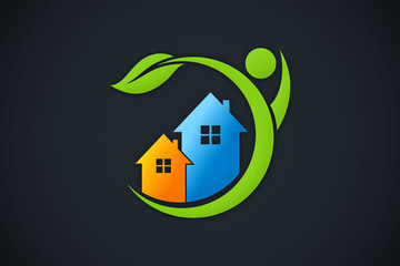home eco people environment logo vector