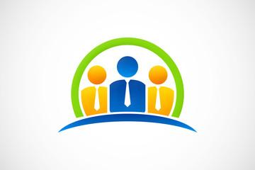 teamwork leadership logo vector