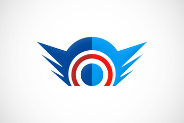 vision wing abstract logo vector