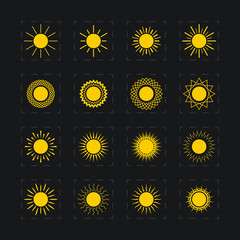 Set of different images of the sun, vector illustration