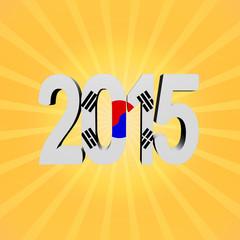 South Korea flag 2015 text on sunburst illustration