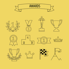 set of vector award success and victory icons with trophies cups