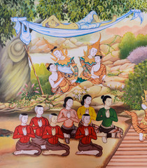 Buddhist temple mural painting (The life of Buddha) in Chiang Ma