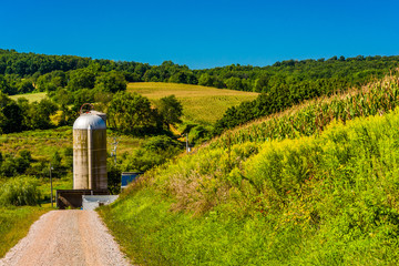 Dirt road and a silo in rural York County, Pennsylvania.