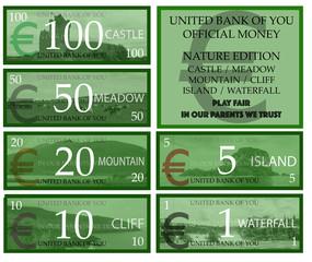 Euro play money nature theme
