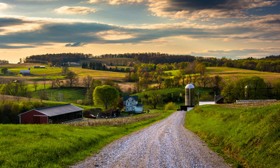 Dirt road and view of farm fields in rural York County, Pennsylv