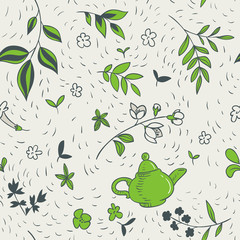 vector seamless pattern with teapot and floral elements