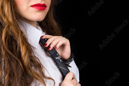 canvas print picture Donna in cravatta