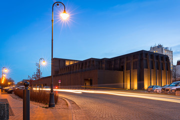 The Shakespeare Theatre building at dusk in Gdansk, Poland