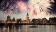 Westminster Abbey with firework, celebration of the New Year in - 75067312