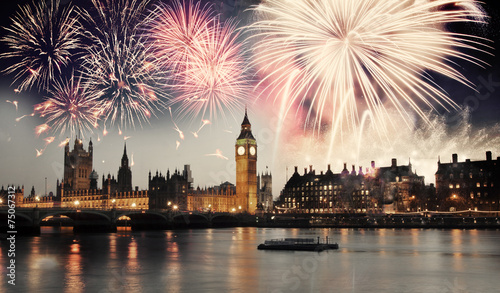 Leinwanddruck Bild Westminster Abbey with firework, celebration of the New Year in