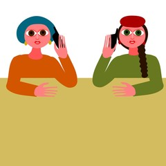 Two women talking on your mobile phone