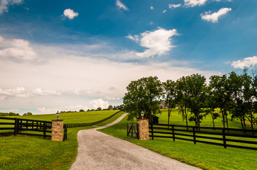 Driveway and fences in rural York County, Pennsylvania.