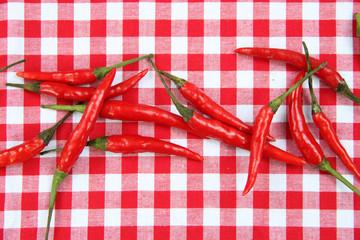 Scharf: Chili auf rot karierter Tischdecke