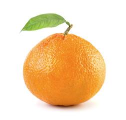 Ripe tangerine with leaf