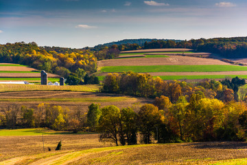 Early autumn color in the rolling hills of rural York County, Pe