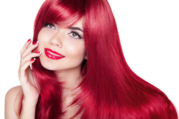 Beautiful smiling girl with red hair. Long straight hairs Shine