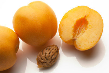 apricots sliced isolated on white background