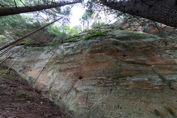 ancient sandstone cliffs in the Gaujas National Park, Latvia