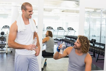 Smiling trainer talking to fit man at gym