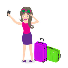 travel girl taking selfie with cell phone isolated