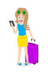 Smart woman holding tablet with luggage on white background