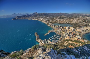 Calpe town coastline and marina