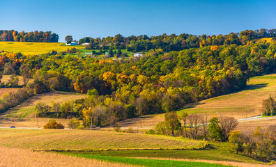 Early-autumn view of rolling hills in rural York County, Pennsyl