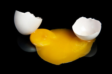 Broken raw egg yolk with a great close-up