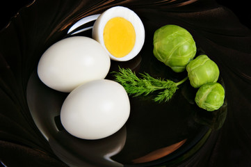 Boiled eggs with brussels sprouts