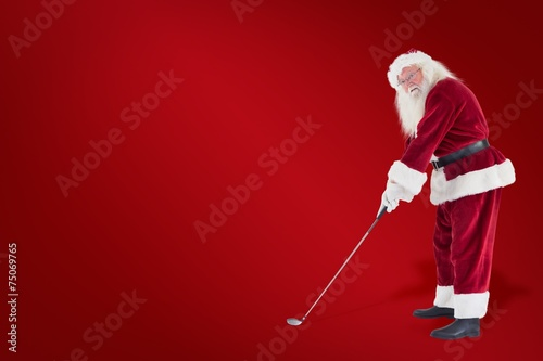 Staande foto Golf Composite image of santa claus is playing golf