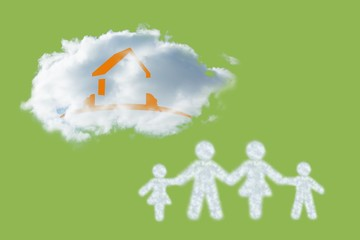 Composite image of cloud in shape of family