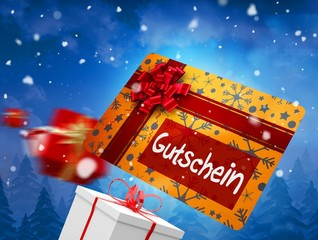 Composite image of flying gift card and presents