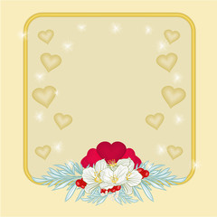 Frame Valentines day hearts and jasmine background vector