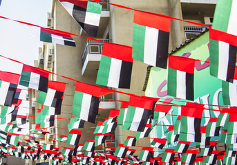 decorated streets with flags to the Independence Day of the UAE