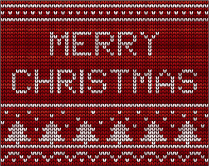 Christmas background with knitted pattern