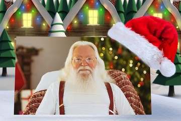 Composite image of happy santa without his jacket